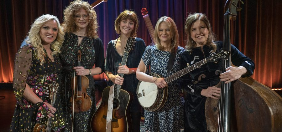 An all-star women's lineup features (left to right): the multi-GRAMMY and IBMA (International Bluegrass Music Association) Award winner Rhonda Vincent, GRAMMY awarded fiddler Becky Buller, two-time Guitar Player of the Year Molly Tuttle, IBMA Bass Player of the Year Missy Raines, and GRAMMY and IBMA-lauded, Alison Brown.