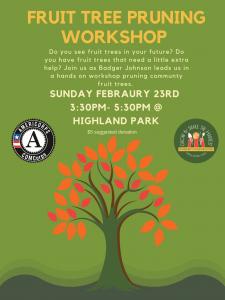 Fruit Tree Pruning Workshop flier