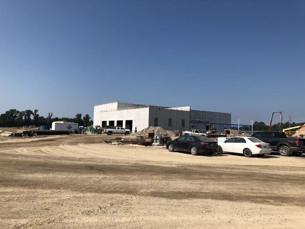 The unfinished construction site of GenCanna's processing facility in Graves County, in August of 2019.