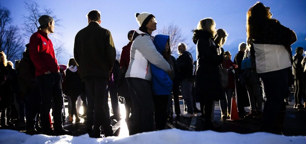 People in Milford, N.H., wait in line to enter an event for Democratic presidential candidate former South Bend, Ind., Mayor Pete Buttigieg on Monday.
