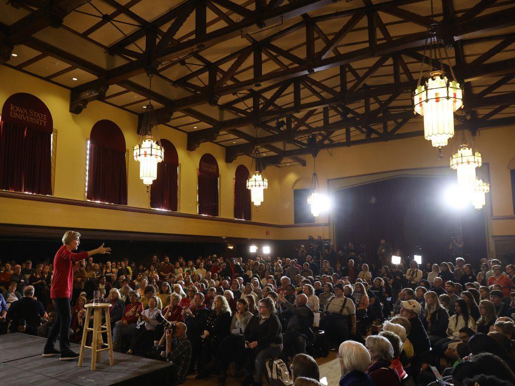 Sen. Elizabeth Warren of Massachusetts speaks during a campaign event at Iowa State University's Memorial Union in Ames, Iowa.