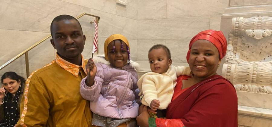 Maree Gavhed, her husband Abdloulaye Soumana and her children celebrate her new citizenship.