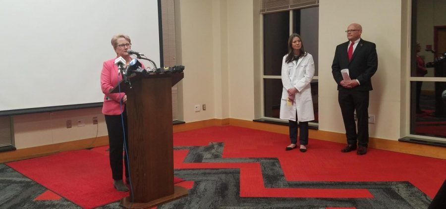 Butler County Health Commissioner Jennifer Bailer discusses the county's response to possible coronavirus cases at Miami University as Dr. Amy Acton, Ohio Department of Health, and Miami President Gregory Crawford look on.
