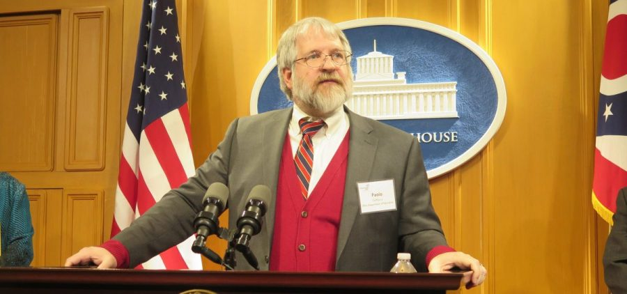 State schools superintendent Paolo DeMaria speaks at a press conference in 2018.
