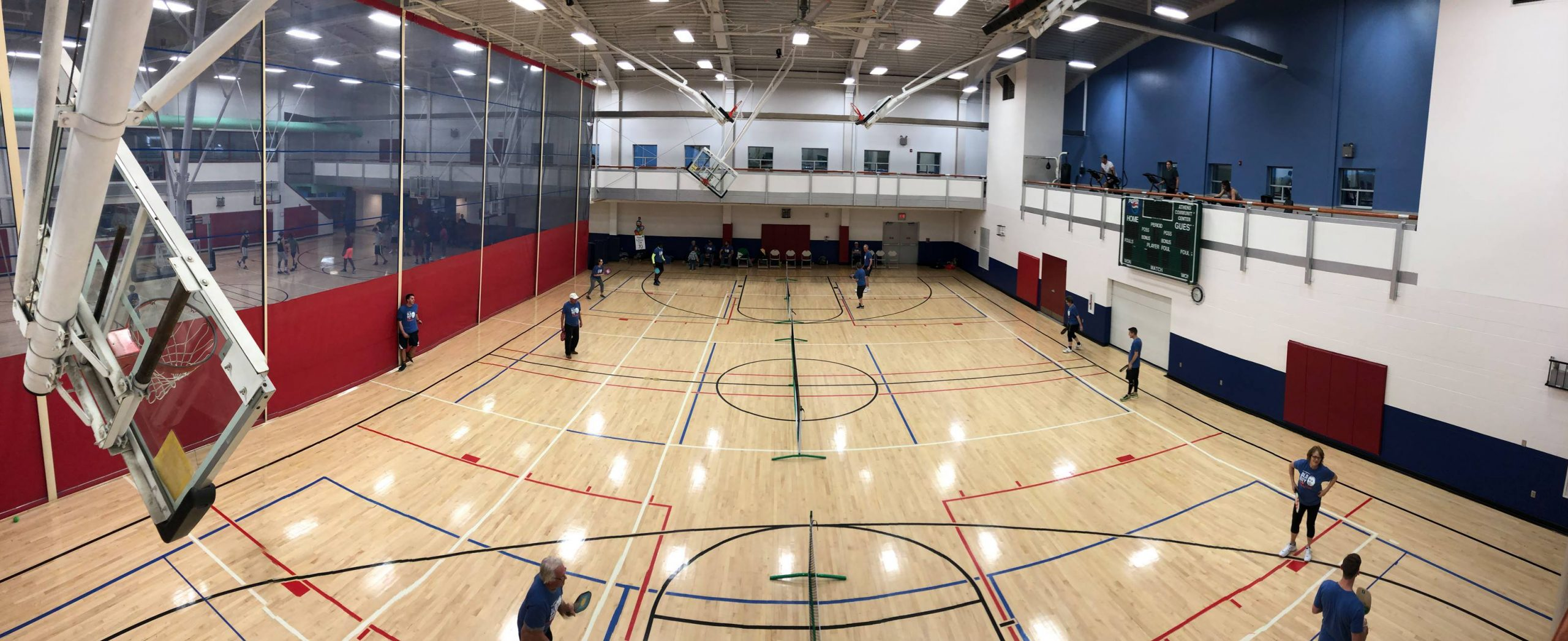 A court at the Athens Community Center is set up for Pickleball
