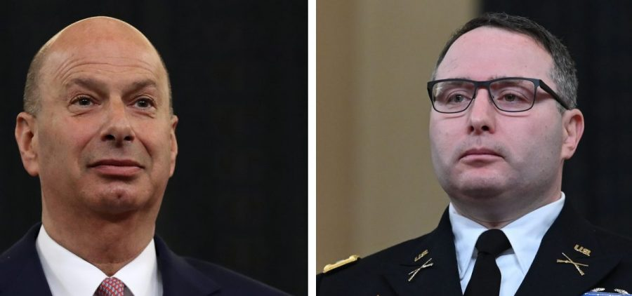 "Democrats say President Trump is exacting ""retribution"" on Gordon Sondland (left), the outgoing U.S. ambassador to the European Union, and Lt. Col. Alexander Vindman because they testified in the impeachment hearings."