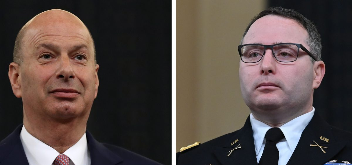"""Democrats say President Trump is exacting """"retribution"""" on Gordon Sondland (left), the outgoing U.S. ambassador to the European Union, and Lt. Col. Alexander Vindman because they testified in the impeachment hearings."""