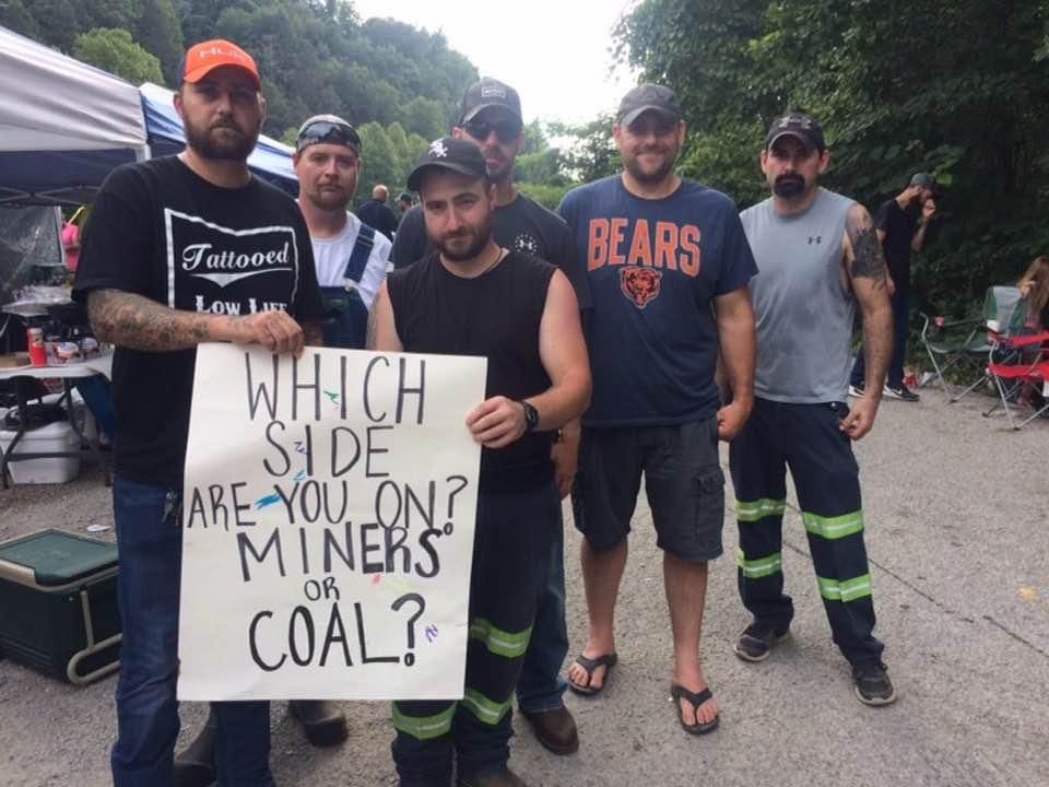 David Pratt, Jr., front right, was a leader in the summer, 2019 coal train blockade.