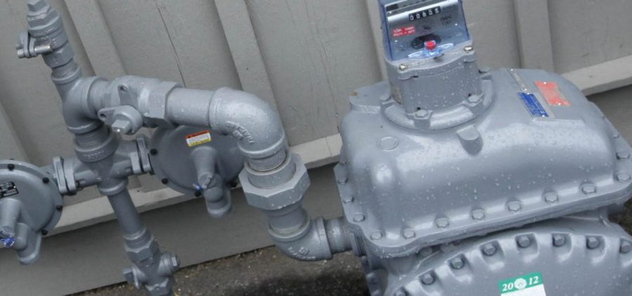 A close-up of a gas meter.