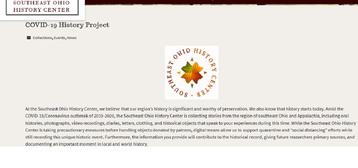 Screenshot of History Center homepage