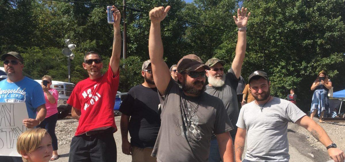 David Pratt Jr. and Sr., right and second from right, protest former employer Blackjewel in summer 2019.
