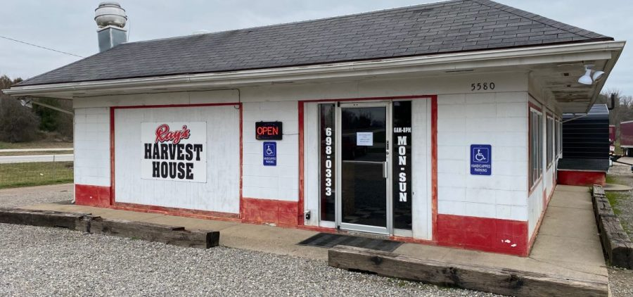 Open for carryout, but an empty parking lot means less business for Ray's Harvest House in Albany, Ohio
