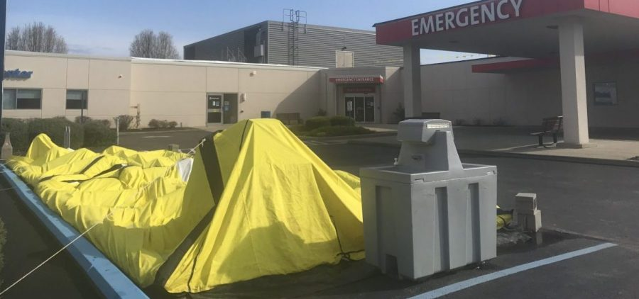 A tent outside of the O'Bleness Emergency Department ready for any surge in patients showing symptoms of COVID-19