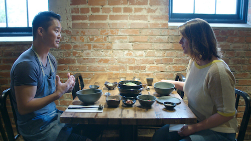 Host Vivian Howard seaks with Chef Mike Lee