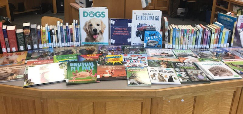 Books on animals displayed at an Athens County Public Library location.