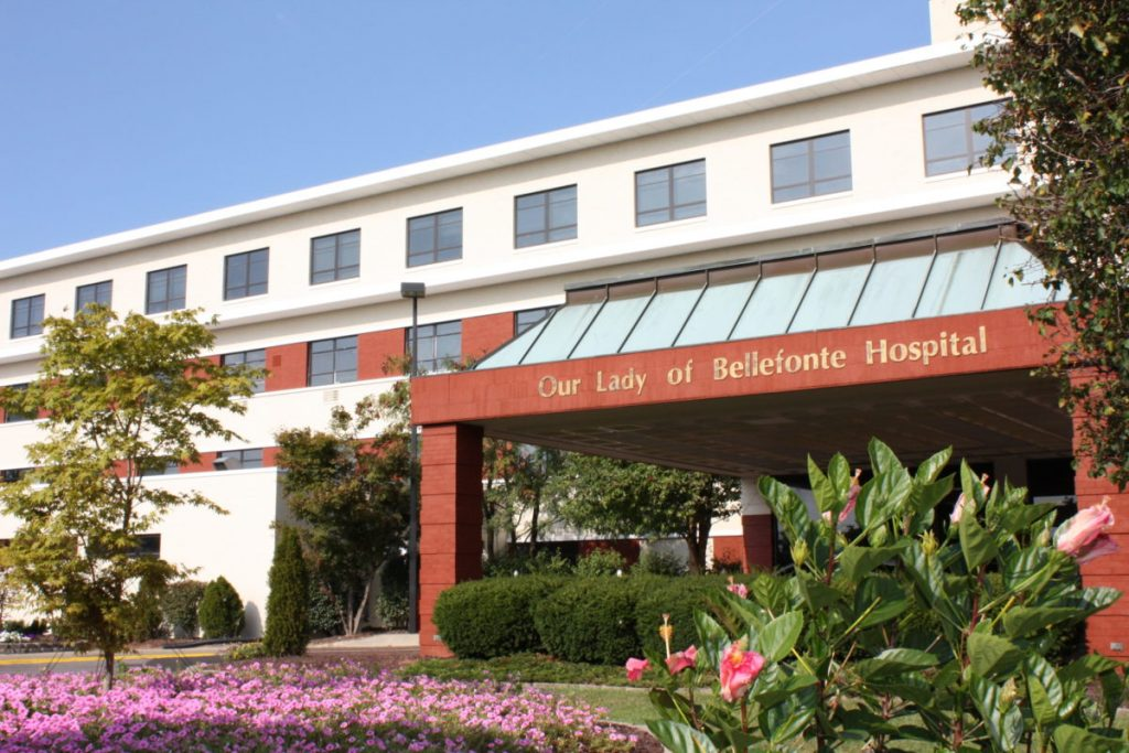 The entrance of Our Lady of Bellefonte Hospital in 2009.