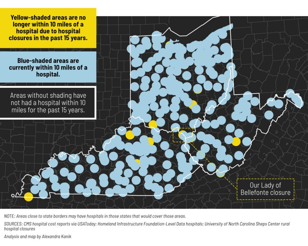A map shows areas that are no longer 10 miles from a hospital due to closures