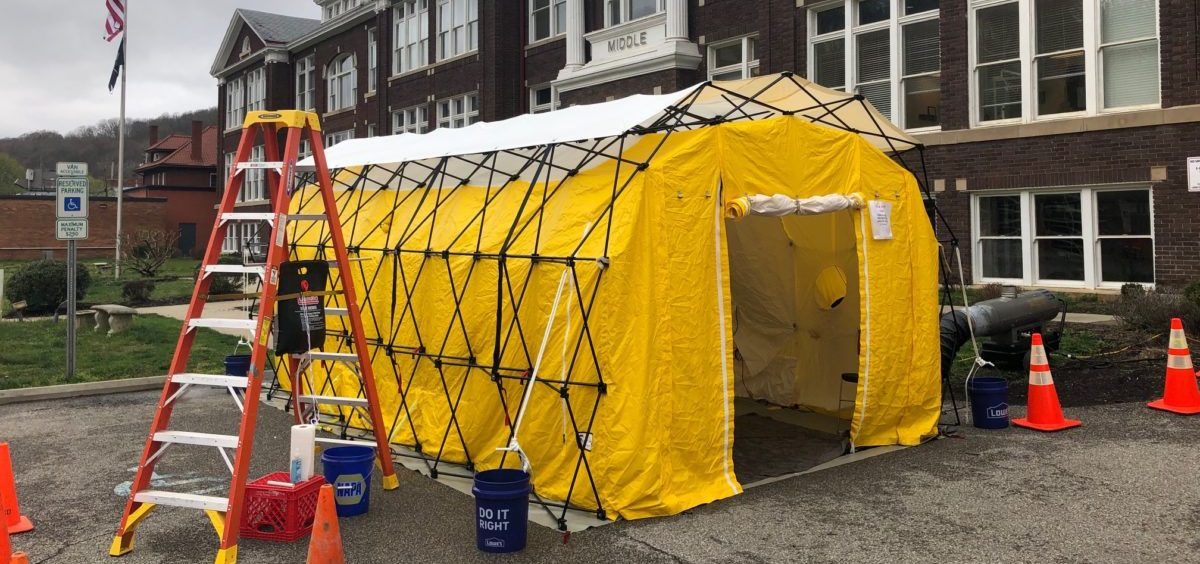 A triage tent set outside one of Brumage's community health centers in Kanawha County, West Virginia.