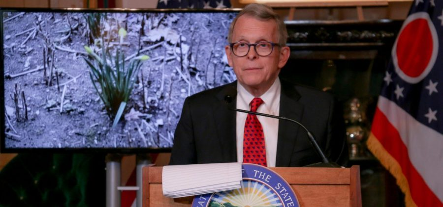 Gov. Mike DeWine speaks at his daily press conference on coronavirus on March 22, 2020.