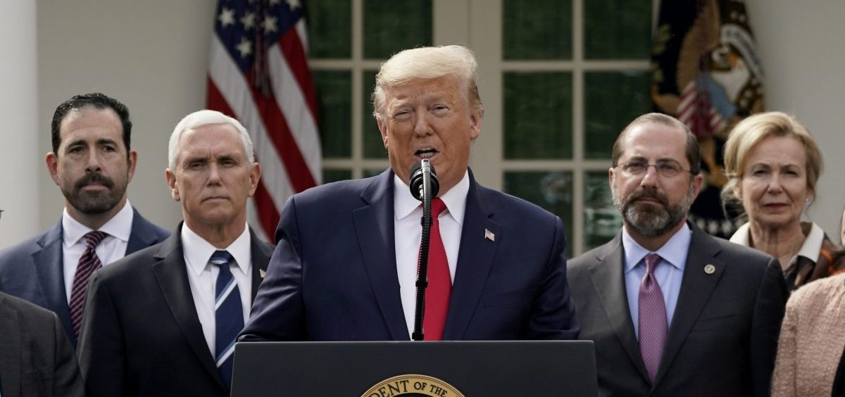 President Trump holds a news conference about the ongoing global coronavirus pandemic in the Rose Garden at the White House on Friday.