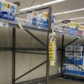 A Columbus grocery store has some empty space in the paper products aisle. Some stores are reporting items selling out or shortages of some items, such as hand sanitizer.