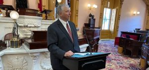 House Speaker Larry Householder (R-Glenford) speaks to reporters after session on Wednesday, March 25, 2020.