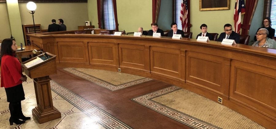 Ohio Republican Party Counsel Anne Marie Sferra at an Ohio Ballot Board meeting, requesting the Secure and Fair Elections Amendment be split into six different initiatives. The board landed on four different issues.