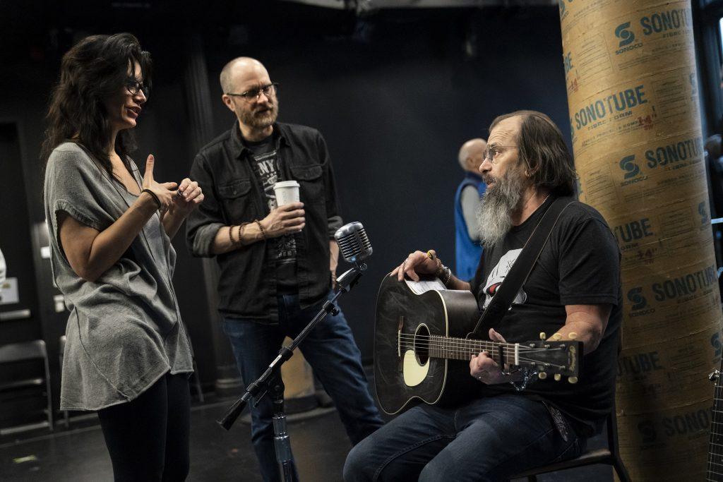 Jessica Blank, Erik Jensen and Steve Earle in rehearsal