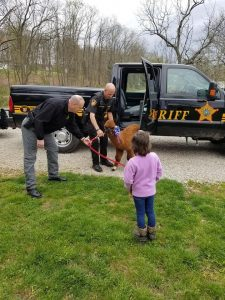 Deputies from the Gallia County Sheriff's Office present the alpaca