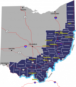 MAP OF 32 Appalachian counties in eastern and southern ohio