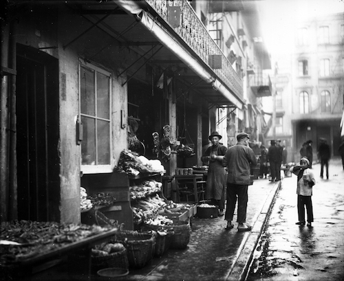 Storefront of Chinatown meat and vegetable market, San Francisco, California, 1895