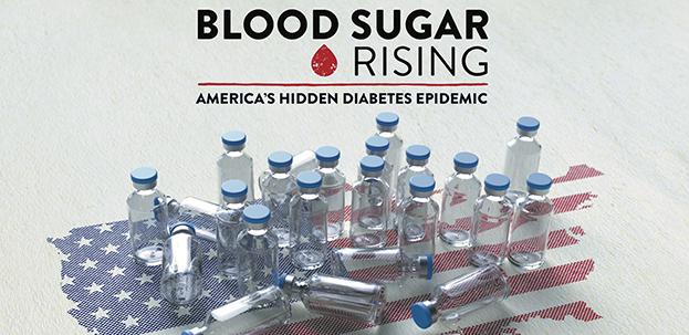 "insulin bottles on image of USA for program ""Blood Sugar Rising"""