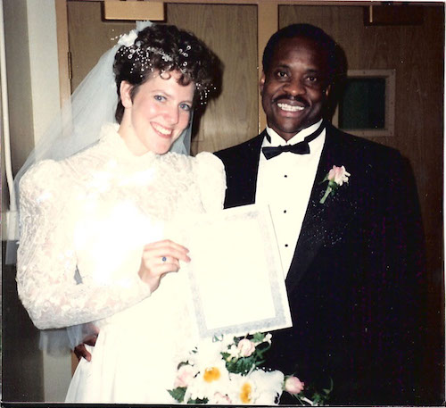 Clarence Thomas and his new wife Virginia displaying their marriage license on their wedding day May 30, 1987.