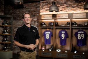 Downing in Ravens' locker room