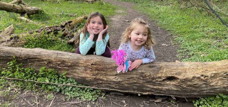 Clara and Sydney on a nature trail
