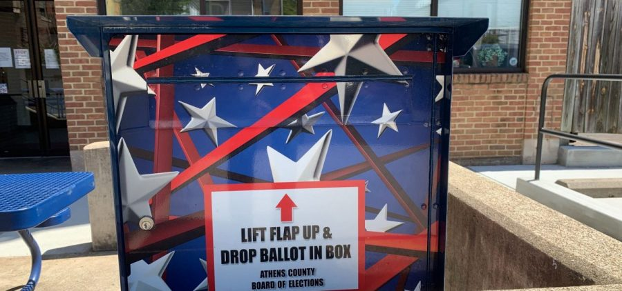 A box to drop off ballots at the Athens County Board of Elections