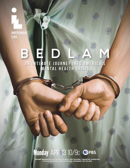 Ad for Bedlam. closeup og hospital gown with handcuffs