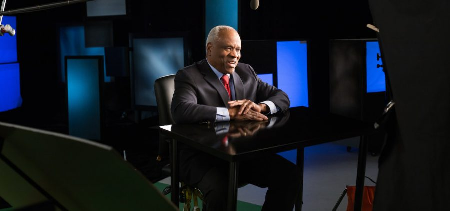 """Justice Clarence Thomas on set for """"Created Equal: Clarence Thomas in His Own Words"""""""