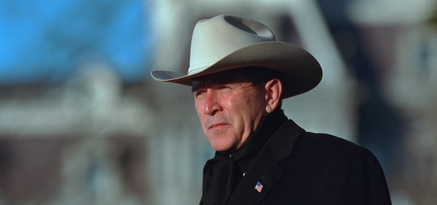 George W. Bush PORTRAIT SHOTS OF THE PRESIDENT WEARING A COWBOY HAT