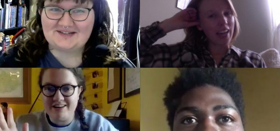 A screenshot of four people in a video conference