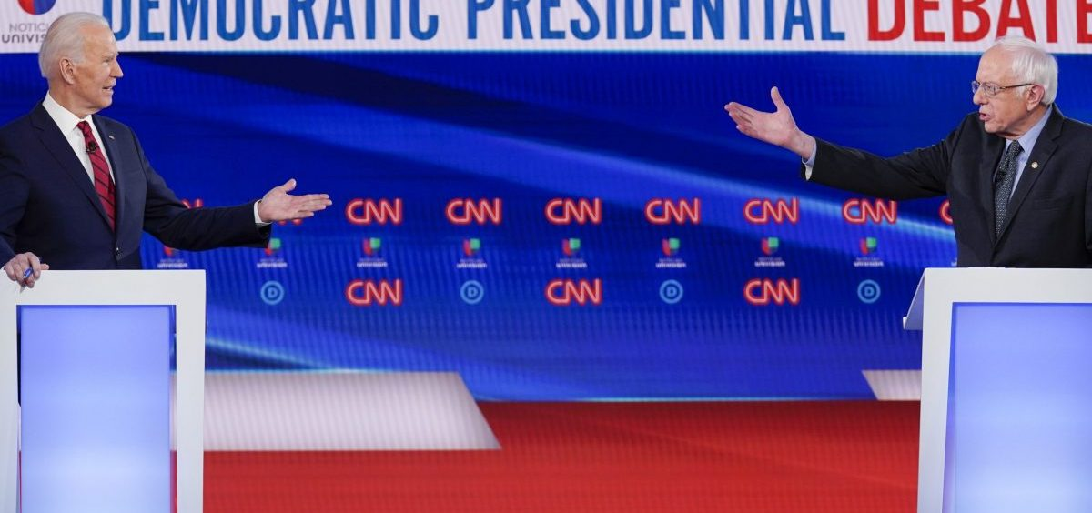 Former Vice President Joe Biden, left, and Sen. Bernie Sanders participated in their final Democratic presidential primary debate last month in Washington, D.C.