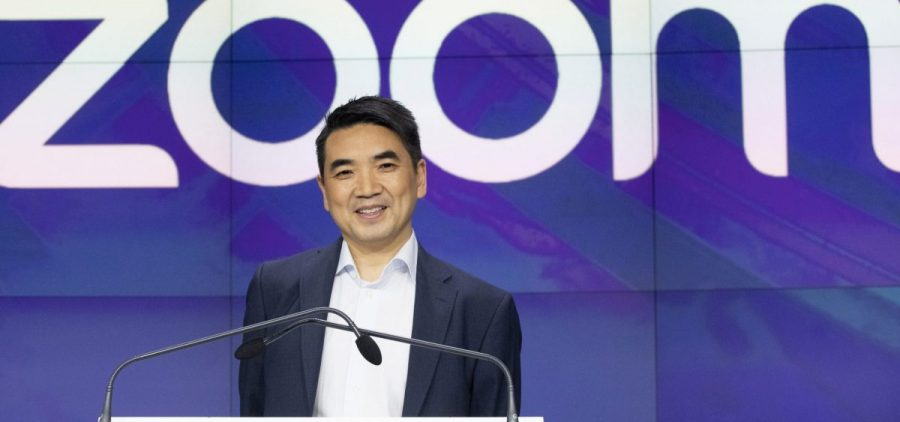 Zoom CEO Eric Yuan attends the opening bell at Nasdaq as his company holds its IPO in New York. The company's seen a massive growth in users amidst the coronavirus pandemic.