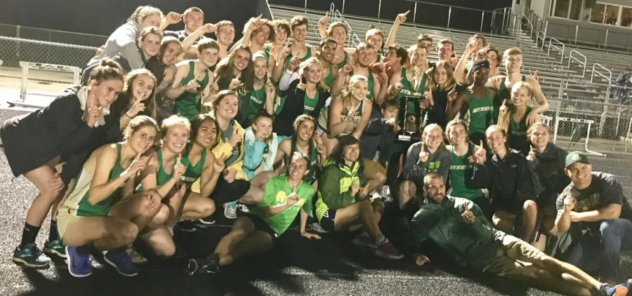 Athens Track celebrating after a meet