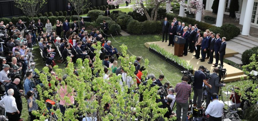 President Trump speaks during a news conference about the coronavirus pandemic in the Rose Garden of the White House on March 13.