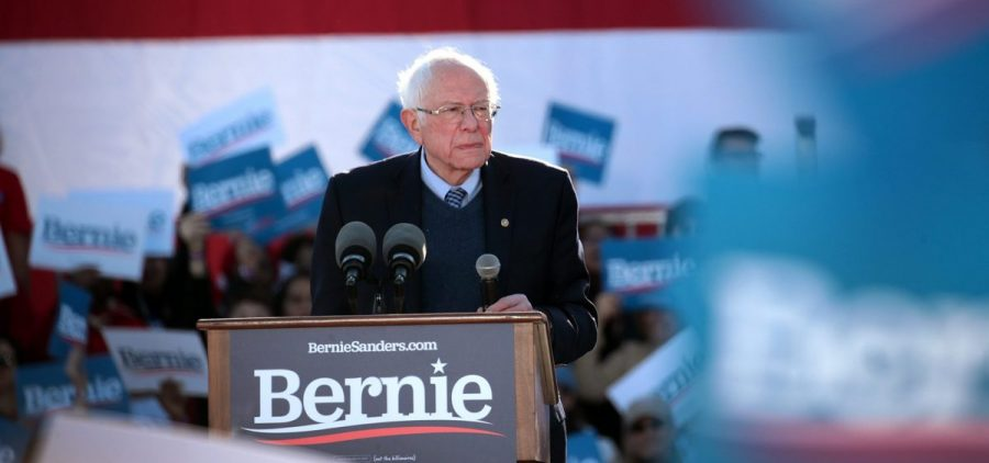 Bernie Sanders speaks at a campaign rally in Chicago on March 7.