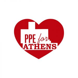 The PPE for Athens logo., featuring a red heart with the shape of Athens County in white in the middle.