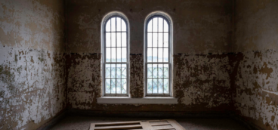 Arched windows inside old Athens Asylum