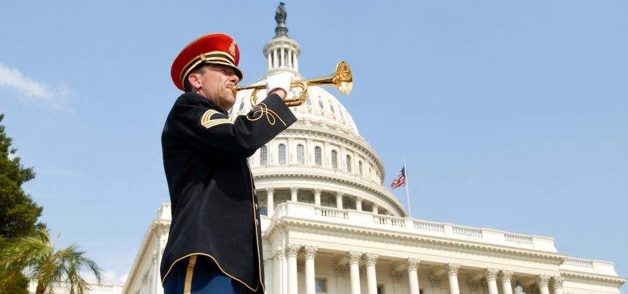 """A bugler plays """"Taps"""" in honor of our fallen heroes during the NATIONAL MEMORIAL DAY CONCERT, broadcast live from the U.S. Capitol."""