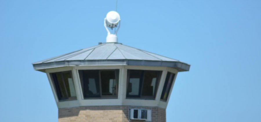The observation tower at the Southern Ohio Correctional Facility in Lucasville, which is one of only four prisons not in quarantine for COVID-19. It's a maximum security facility and inmates are housed in cells.
