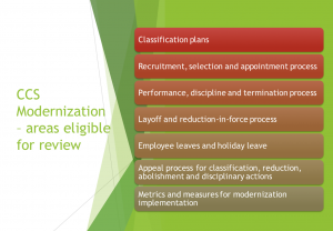 Information details Classification plans eligible for review: Recruitment, selection and appointment process Performance, discipline and termination process Layoff and reduction-in-force process Employee leaves and holiday leave Appeal process for classification, reduction, abolishment and disciplinary actions Metrics and measures for modernization implementation